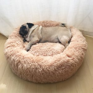 Lange Pluche Super Zacht Huisdier Bed Kennel Hond Ronde Kat Winter Warme Slaapzak Puppy Kussen Mat Draagbare Kat Levert 40/50/60cm