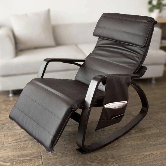 Vouwstoel 150 Kg.Nieuwe Relax Schommelstoel Lounge Stoel Met Verstelbare Voetensteun Relax Fauteuil Schommelstoel Met Zak 5 Voudig Verstelbare Voetsteun