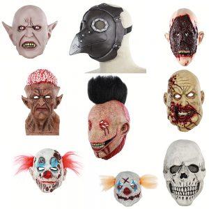 Halloween Horror Grimas Ghost Masker Enge Zombie Emulsie Huid met Haar Clown Masker Gruwelijke Demon Volwassen Clown Duivel Vlam Masker