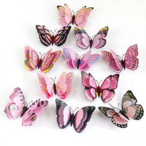 3D Multi Color Vlinders (12 Muurstickers)